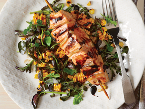 Ginger Salmon with Grilled Corn and Watercress Salad