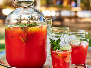 Watermelon Aguas Frescas with Prosecco and Tequila