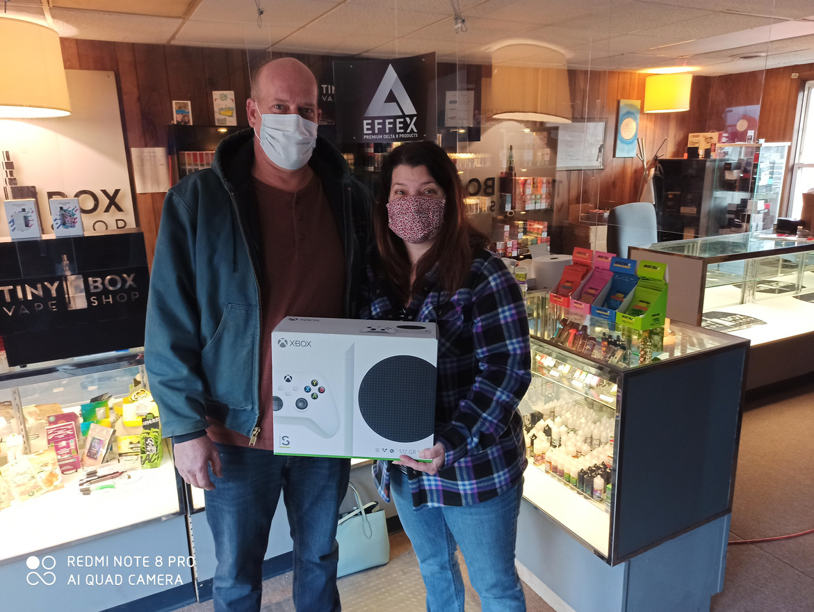 Karen won the Xbox Series S from our West View location