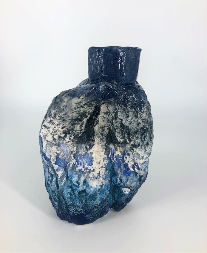 Space, 2021, Earthenware, glaze, 13cm h 9cm w 8cm d