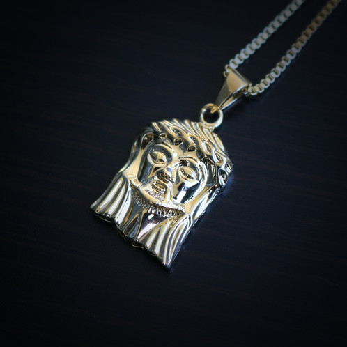 Mini micro 18k gold jesus piece necklace mens hip hop jewelry mini micro 18k gold jesus piece necklace aloadofball Image collections