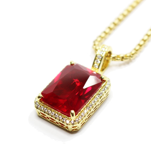 Ruby red square gold necklace chain mens hip hop jewelry ruby red square gold necklace chain aloadofball Images