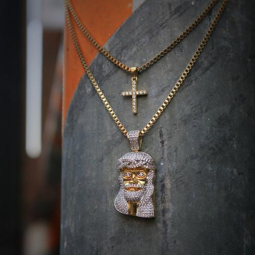 Mens gold mini micro jesus piece and cross pendant aloadofball Image collections