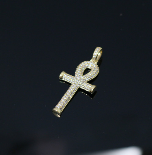 14k gold mini egyptian ankh key cross pendant char mens hip hop 14k gold mini egyptian ankh key cross pendant charm 14k gold plated lab simulated diamonds charm size is 33mm in length pendant only no chain included aloadofball Choice Image