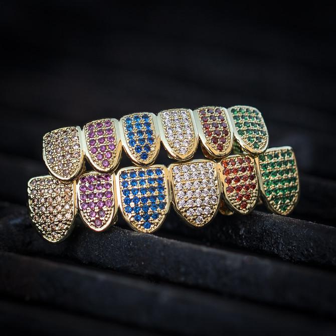 Men's Rainbow Diamond Top & Bottom Grillz