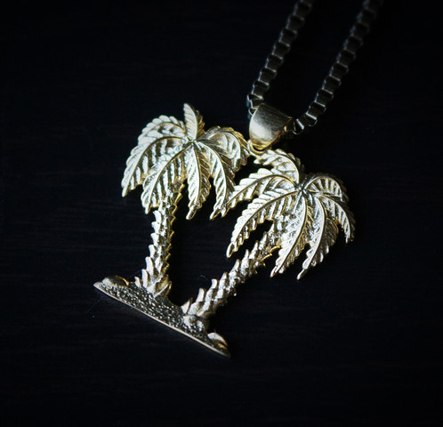 Gold plated palm tree charm pendant necklace mens hip hop gold plated palm tree charm pendant necklace chain is 14k gold plated over 316 stainless steel size of the pendant is 30mm in length mozeypictures Gallery