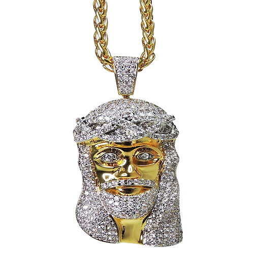 datnewice products link necklace with piece jesus out iced chain cuban inch
