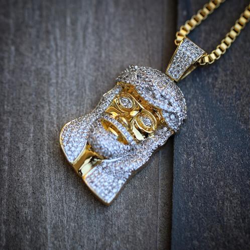 14k gold plated mini jesus piece necklace mens hip hop jewelry 14k gold plated mini jesus piece necklace mozeypictures Images