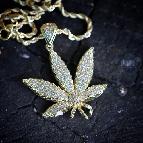 14k gold plated iced out cannabis leaf pendant and mens hip hop 14k gold plated iced out cannabis leaf pendant and aloadofball Image collections