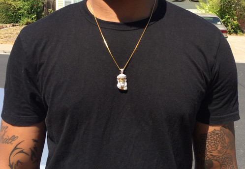 14k gold plated mini jesus piece necklace mens hip hop jewelry 14k gold plated iced out lab diamond mini micro jesus piece chain necklace aloadofball Choice Image