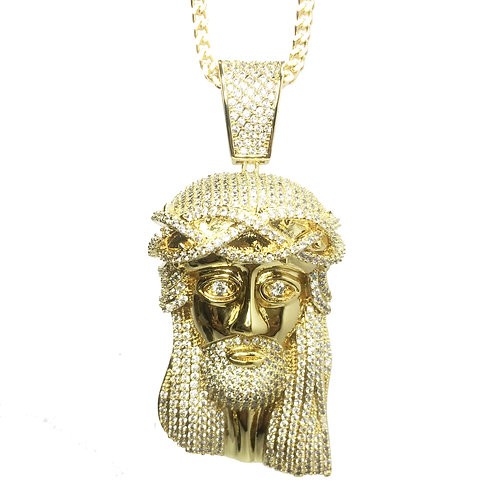 Fully iced out lab diamond gold jesus piece and fr aloadofball Images