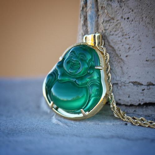 Mens 18k gold green jade buddha pendant and rope chain necklace mens 18k gold green jade buddha pendant and rope chain necklace aloadofball Image collections