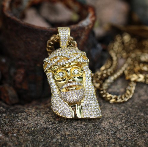 Gold jesus piece chain necklace 30 franco chain aloadofball Images