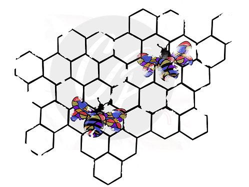 Distressed Bees, Digital Stamp
