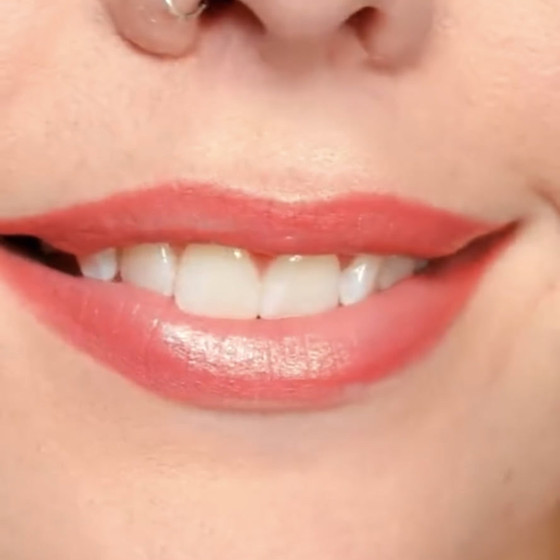 Lip tattoo blushing