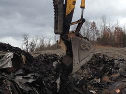 Waste shingles at ASR facility