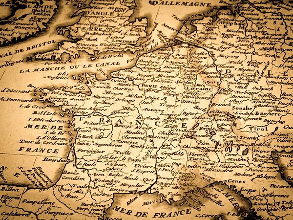 18th century antique world map, France.j