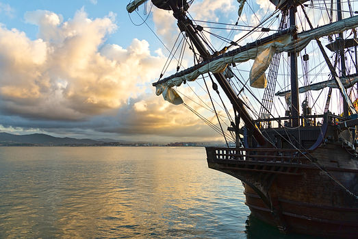 galleon prow at night in Santander bay.j