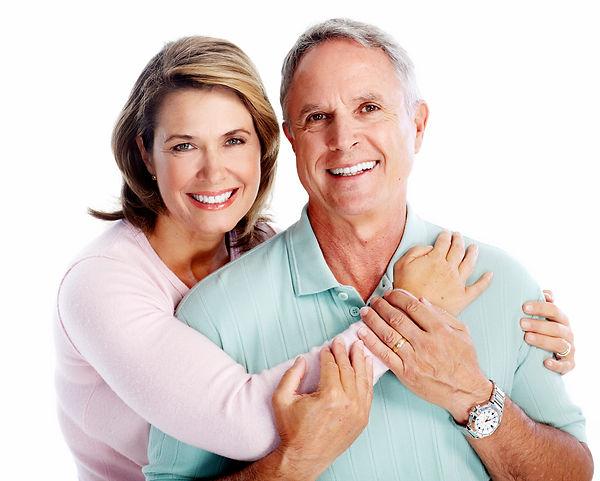 Senior couple portrait. Isolated on whit