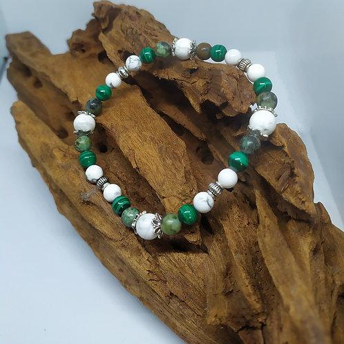 Bracelet Howlite, Malachite, Turquoise d'Afrique