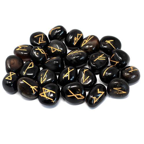 Runes Celtiques onyx ( Agate noire )