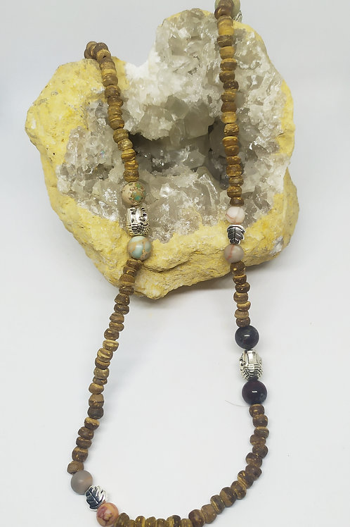 Chapelet 127 perles Bouddha , Bois, Netstone, Jaspe