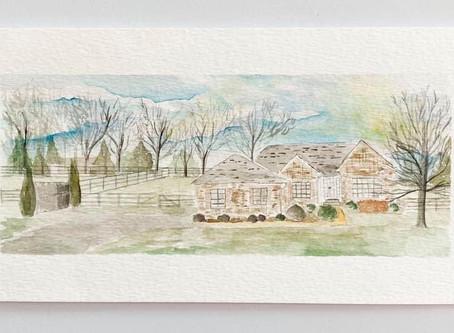 Watercolor House Paintings