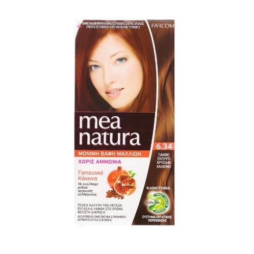 Mea Natura Νο 6.34 Ξανθό Σκούρο Χρυσαφί Χάλκινο Βαφή Χωρίς Αμμωνία