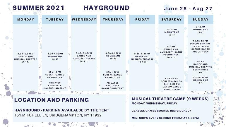 Summer Hayground Schedule