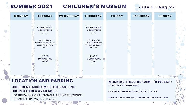 Summer Children's Museum schedule