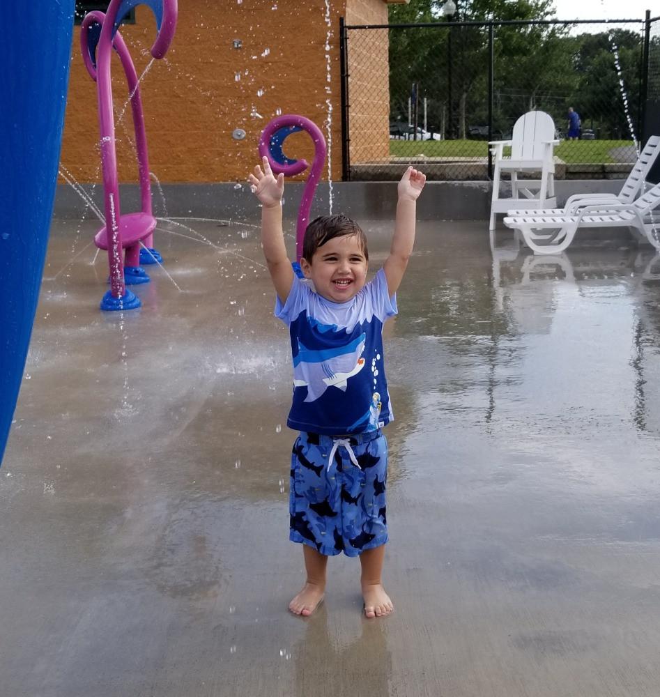 Toddler at water park