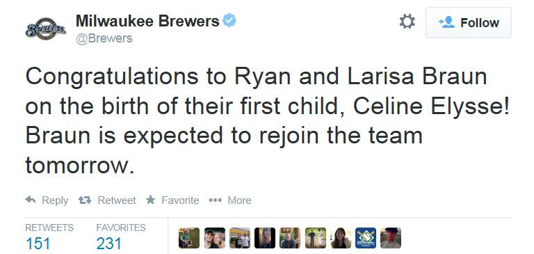 The Brewers support Ryan Braun's paternity leave. A sure sign of progress.