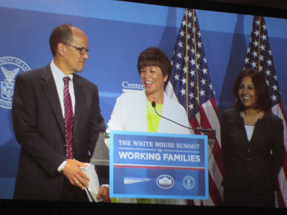 Valerie Jarrett and Thomas Perez opened the event with inspiring remarks