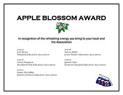 APPLE BLOSSOM AWARD five years of awarde