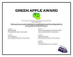 GREEN APPLE AWARD five years of awardees