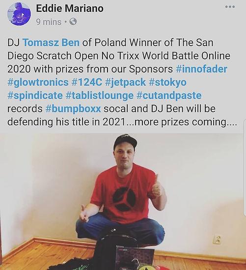 DJ Tomasz Ben Winner of the SD Scratch O
