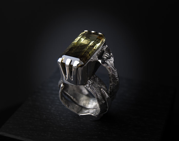 Sterling silver ring with two-tone quartz