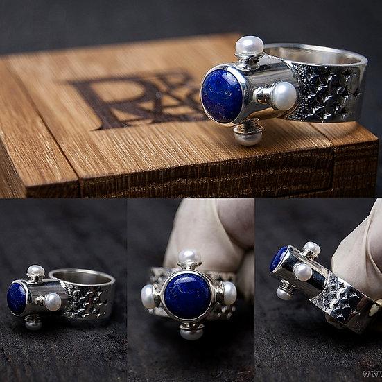Sudraba gredzens ar Lazurītu un Pērlēm