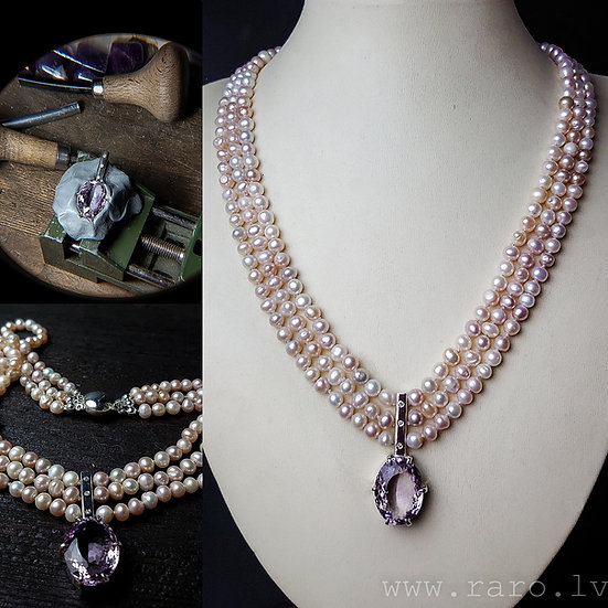 Pearl and silver necklace with amethyst and diamonds