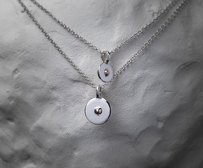 Small sterling silver necklace with 14K gold element