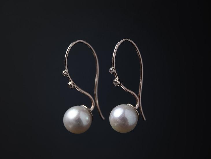 Zelta 585⁰ auskari ar Briljantiem un Sālsūdens pērlēm