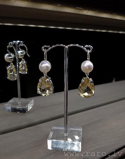 Sudraba 925 auskari ar citrīnu un pērlēm