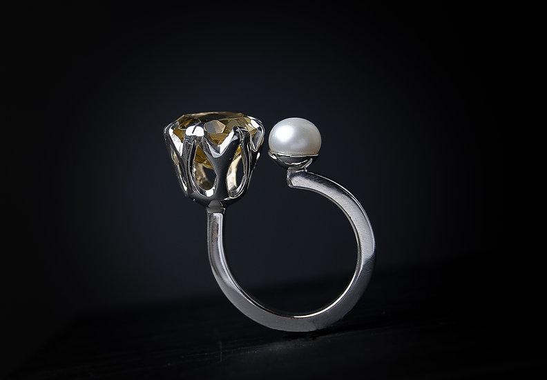 Sudraba 925 gredzens ar citrīnu un pērli