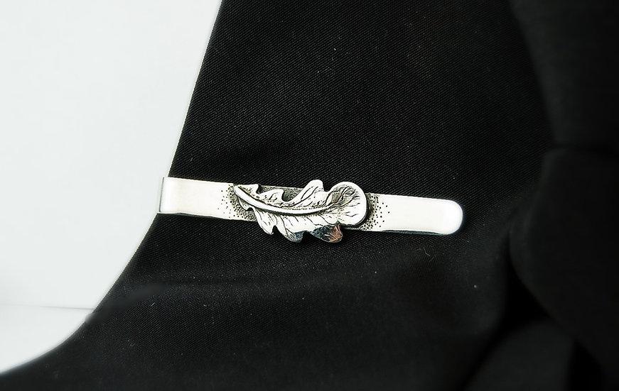 """Sterling silver tie clip """"Oak"""""""