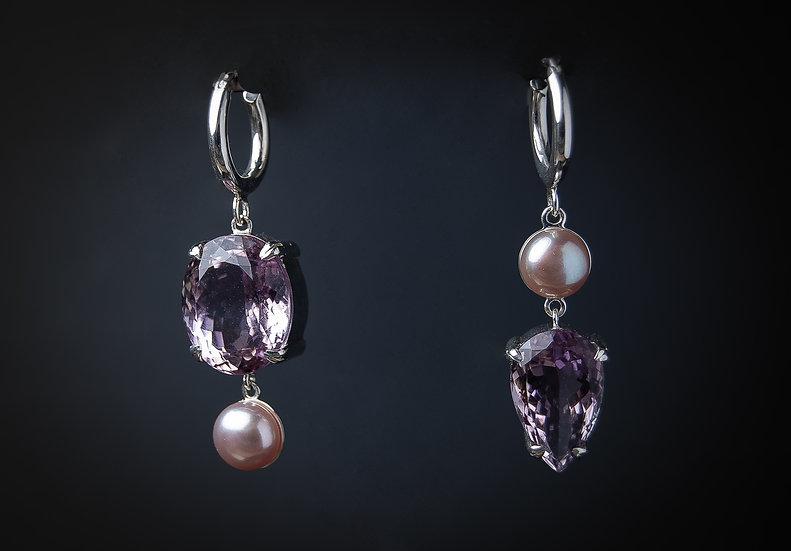Ametista un sudraba 925 proves auskari ar lavandas krāsas upes pērli