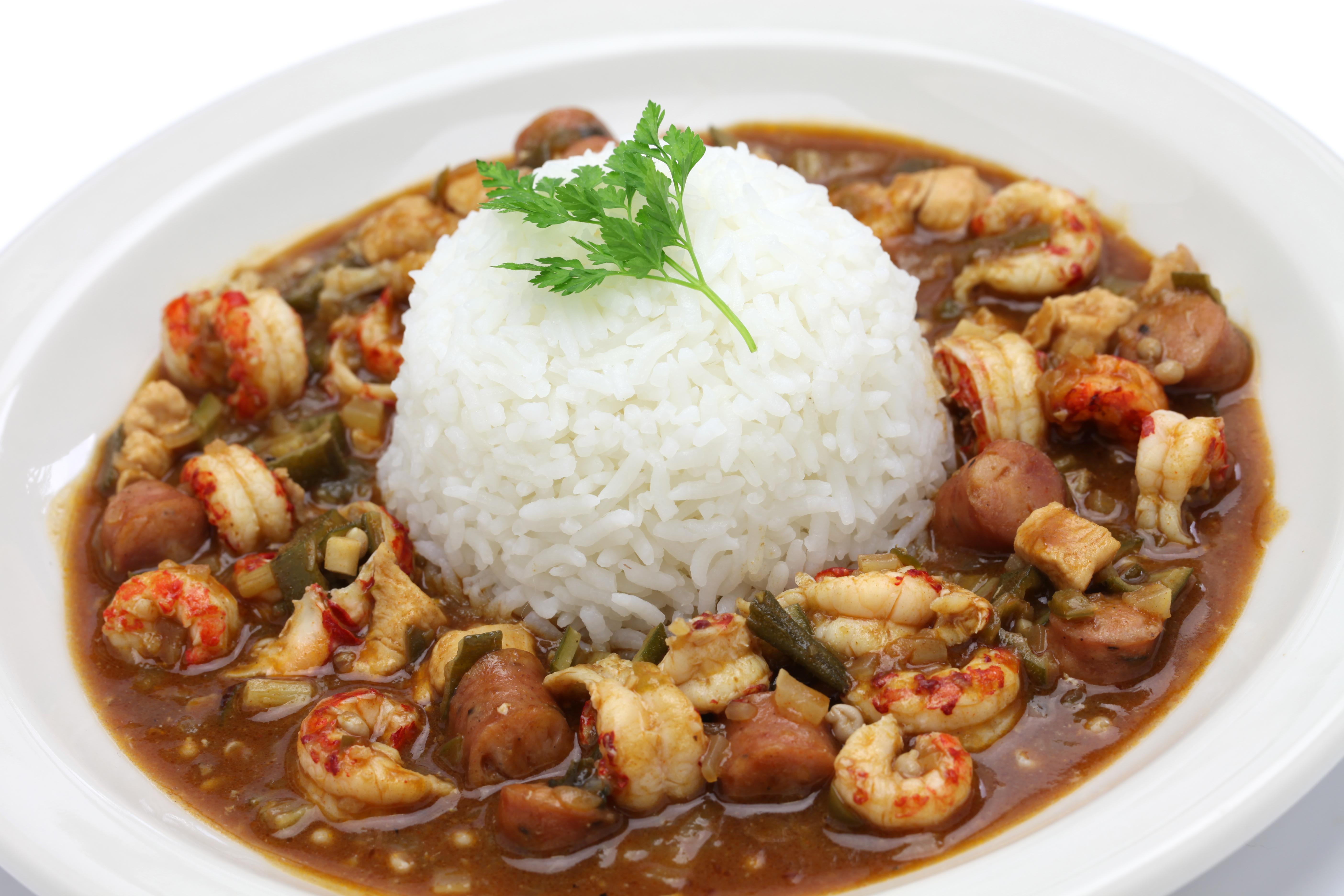 gumbo with crawfish, chicken & sausage,