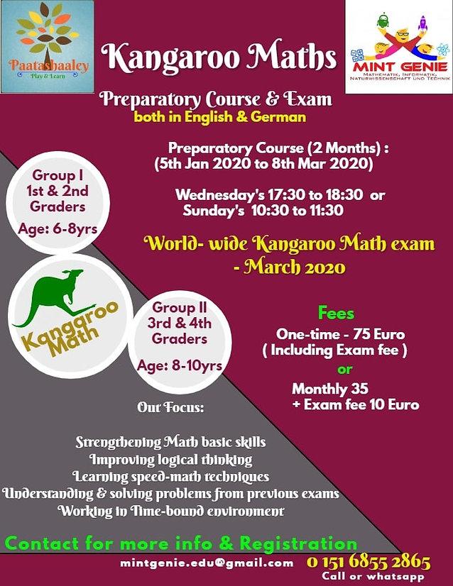Kangaroo Math Preparatory Workshop and Exam