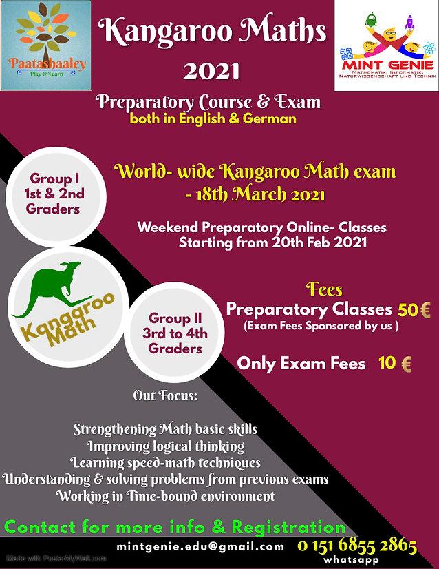 Kangaroo Math 2021 (For 3rd & 4th Graders)