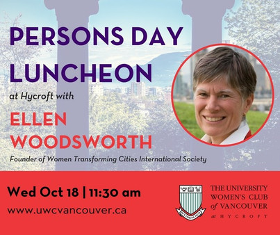University Women's Club features Ellen Woodsworth at Persons Day Luncheon