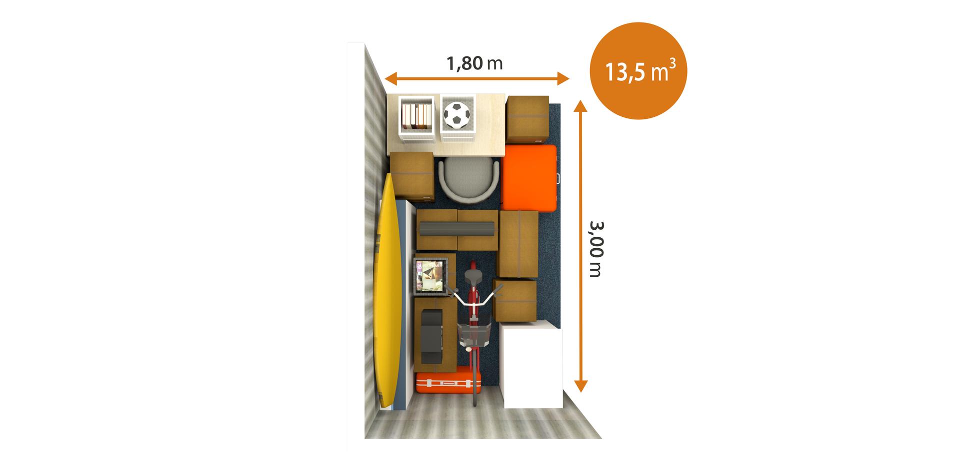 Trastero de 13,5 m³ desde arriba